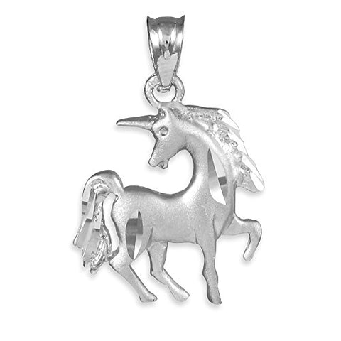 Little Treasures - Satin Finish Diamond Cut Silver Unicorn Charm Pendant Necklace (Come with an 18'' chain)