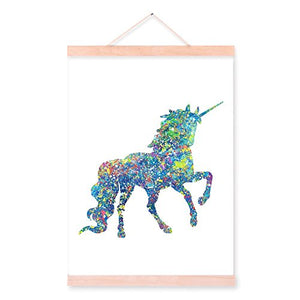 Watercolour Unicorn Wooden Hanger Framed Canvas Art Print Ready to Hang Home Decor Wall Art (Ramin Wood, 30 cm x 40 cm)