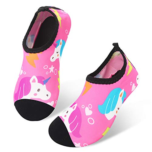 JIASUQI  Water Shoes Kids Quick Dry Aqua Socks Barefoot for Swim Beach Pool, 7/7.5 UK Child, A Pink Unicorn