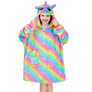 Rainbow Unicorn Hoodie Blanket | Oversized Jumper | Kids | Gift Idea