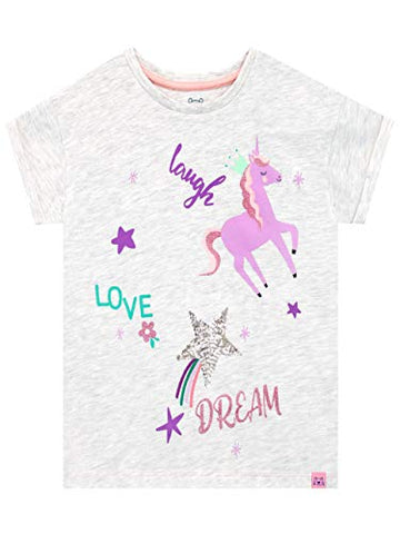 Harry Bear Girls Unicorn T-Shirt Grey Various Ages