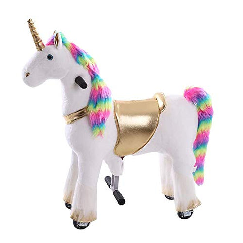 Rainbow Ride On Pony | Walking Unicorn Plush Toy For Children