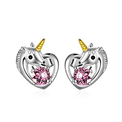 Unicorn Silver Love Heart Earrings With Pink  Swarovski Crystals | Unicorn Gift