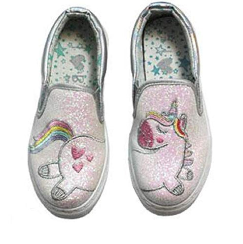 Glitter Unicorn Silver Casual Pumps Trainers Shoes Children's