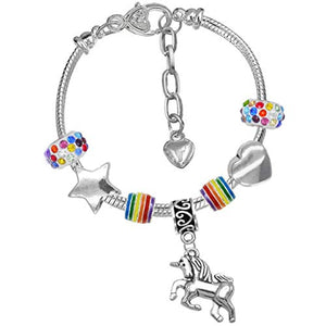 Girls Magical Unicorn & Stars Colourful Birthday Charm Bracelet with Gift Box