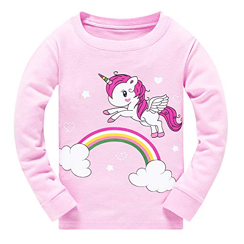 Toddler Girls Pyjamas Set Horse Print Kids Pjs Long Sleeve Cotton Pajamas Sleepwear Tops Shirts & Pants for Children Christmas Xmas Outfit, Deep-pink, 4-5 Years