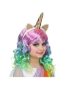 Children's Unicorn Wig With Horn | Multi-Coloured