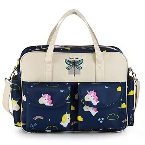 Insular® Multifunctional Waterproof Unicorn Nappy Changing Bag Tote (Navy)