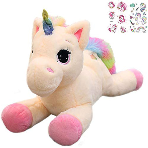 Unicorn With Multi-Coloured Rainbow Tail | Kids Soft Toy Plush | Cuddly Gift