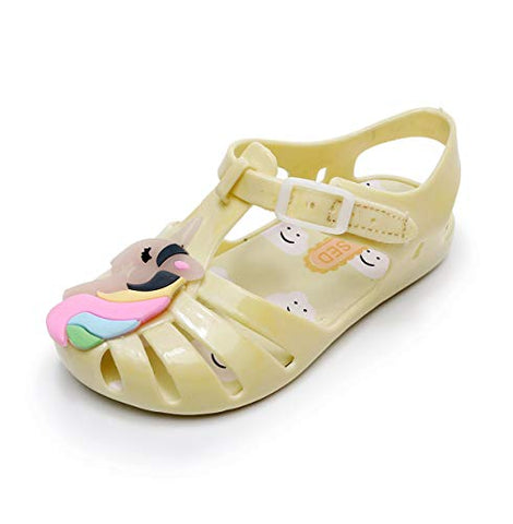 Unicorn Jelly Shoes Girls Yellow Rainbow Unicorn