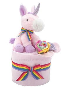 Unicorns and Rainbows Baby Girl Pink Mini Nappy Cake Baby Shower Gift
