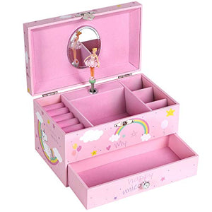 Unicorn Pink Jewellery Box for Girls Musical Ballerina
