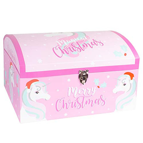 Large Christmas Eve Gift Chest Box | Unicorn Design | Pink