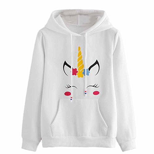 unicorn hoodie for women - white and yellow