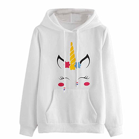 LILICAT Clothing High Quality Womens Unicorn Print Long Sleeve Hoodie Sweatshirt Jumper Hooded Pullover Tops, Autumn Winter New (White, Size :S)