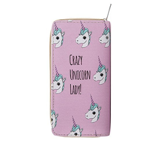DonDon Women's Purse Wallet Unicorn Pattern saying Crazy Unicorn Lady