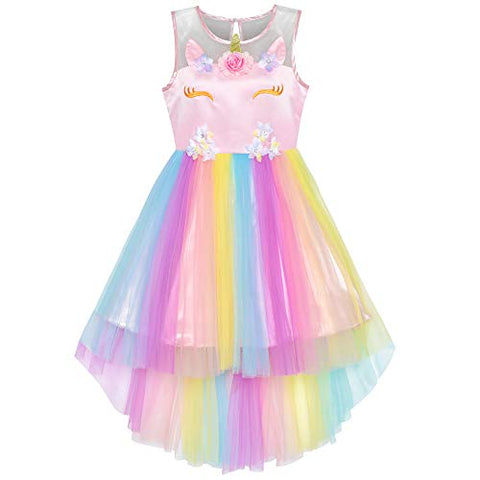 Pretty Flower Girls Unicorn Rainbow Princess Party Dress - Fancy