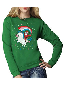 Santa Riding A Unicorn Rainbow Christmas Jumper | Women Sweatshirt