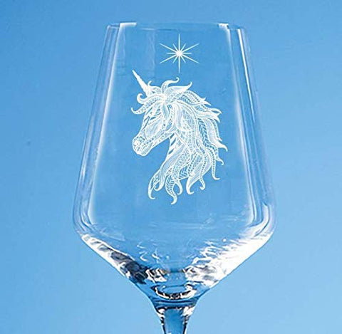 Personalised Unicorn Wine Glass | Engraved Wine Glass Gift For Unicorn Lover