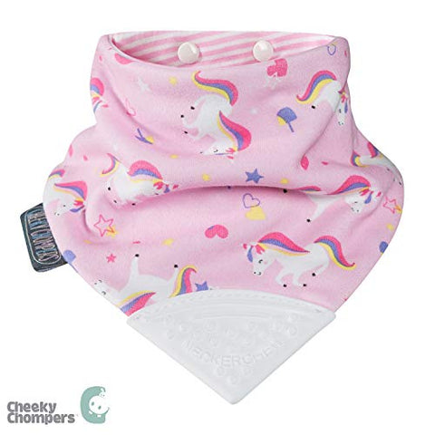 Cheeky Chompers Neckerchew Unicorn Love Pink