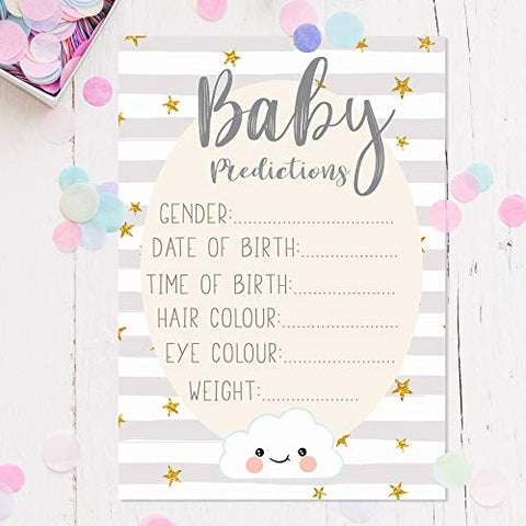 Baby Shower Game | Pack of 10 Baby Prediction & Advice Cards | Guess The Weight/Date