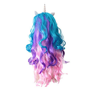 Unicorn fancy dress wig purple pink