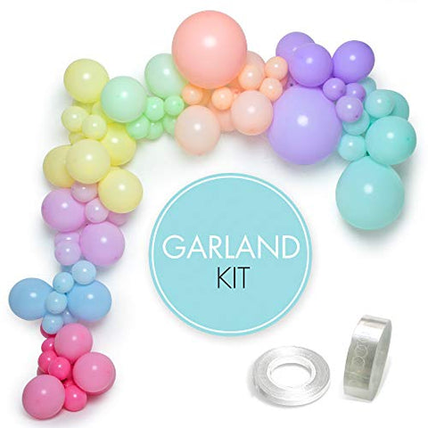 Pastel Balloon Arch Kit | 85 Balloons + 5m Garland Tape + Glue Sticker + Ribbon | Assorted Sizes & Colours | Unicorn & Mermaid Party | Baby Shower