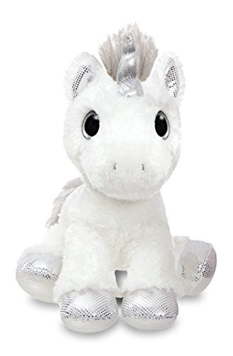 Aurora World 60855 Sparkle Tales Twilight Unicorn Soft Toy, Silver, 12-Inch
