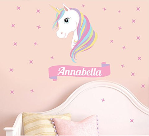 Personalised unicorn wall stickers, with name for a childs bedroom, nursery, playroom. Unicorn wall feature, wall decor.