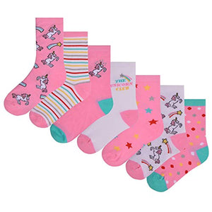 Girls Unicorn Novelty Design Socks | 4 Size UK 9-12/EU 27-31