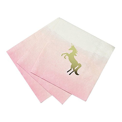 Talking Tables We Heart Unicorns Ombre Cocktail Napkins with Foil Detail for Unicorn and Kids Birthday Party, Pink and Gold (16 Pack)