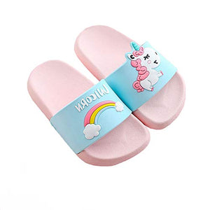 Unicorn sliders pink blue rainbow pool shoes