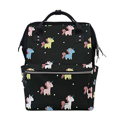 Unicorn Nappy Changing Bag Backpack with Large Capacity- Black
