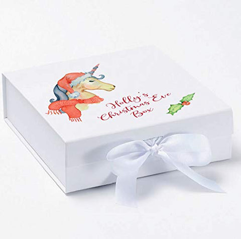 Personalised Unicorn Christmas Eve Box | 30x30x9cm | White Box | Front Bow