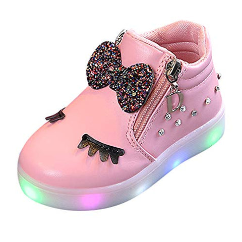 Pink LED light toddler boot unicorn