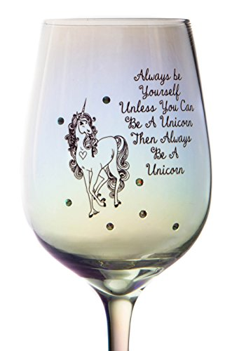 Unicorn wine glass with quote
