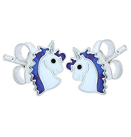 Blue Unicorn Earrings - Sterling Silver