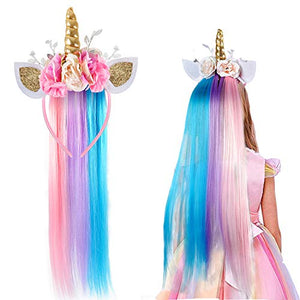 Girls Unicorn Headband with Wig | Unicorn Fancy Dress