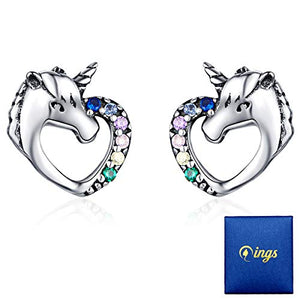 Beautiful Unicorn Stud Earrings | Sterling Silver | Gift for Girls, Women