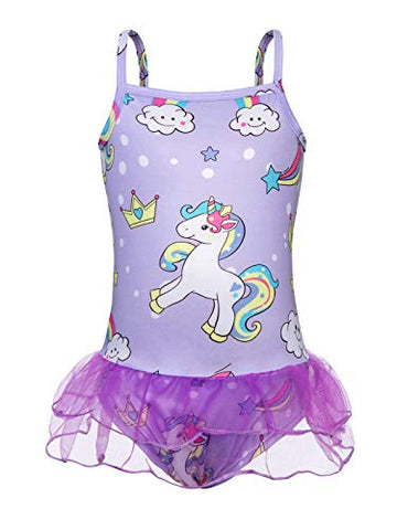 Purple unicorn swimming costume kids with tutu