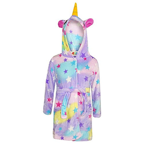 Unisex Kids Unicorn Dressing Gown With Stars | Multicoloured | Various Ages Available