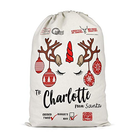 Personalised Unicorn Reindeer Santa Sack | Christmas Sack | Christmas Eve Bags | Boys Girls