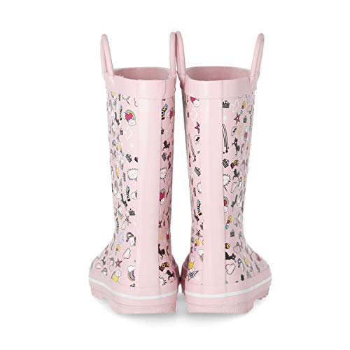 Pastel Pink Unicorn Wellington Boots For Girls