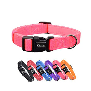 Coloured Dog Collar | Solid Colour For Small Dogs (S, Pink) Olahibi