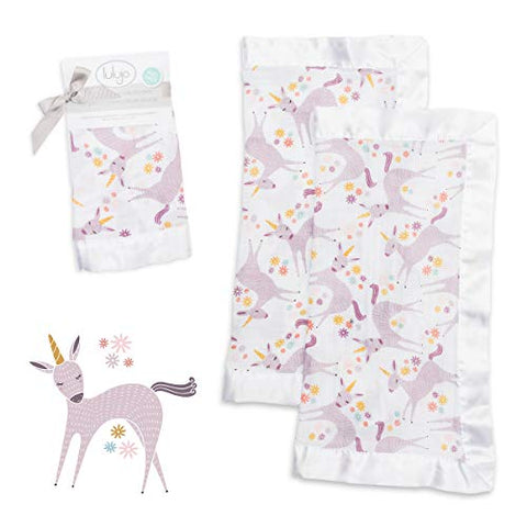 Unicorn Security Blanket | 100% Cotton Breathable Muslin with Smooth Satin Trim | 2 Pack