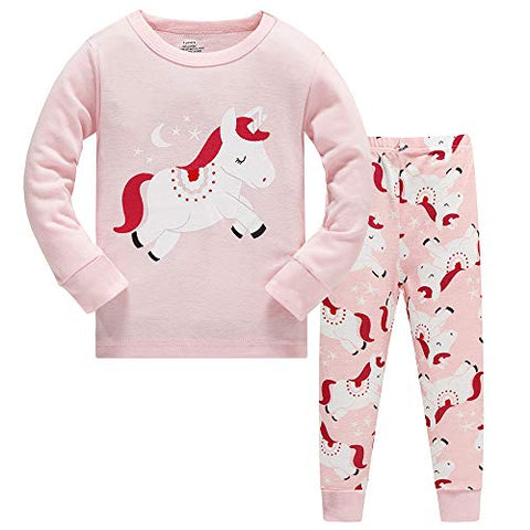 unicorn pyjama set pink print