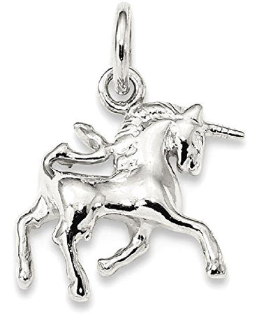 14k Silver Unicorn Head Pendant Charm Necklace For Women