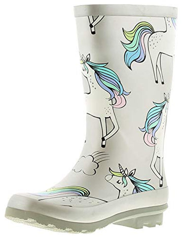 Miss Riot Mystical Unicorn Girls Rubber Material Wellies Silver