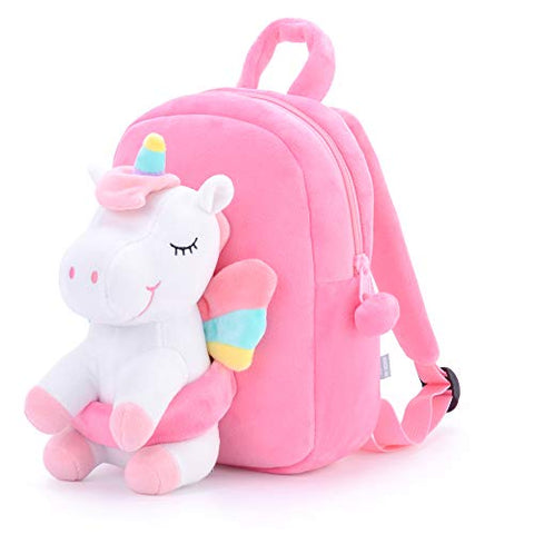 Unicorn Kids Mini Backpack- Pink Plush Fabric