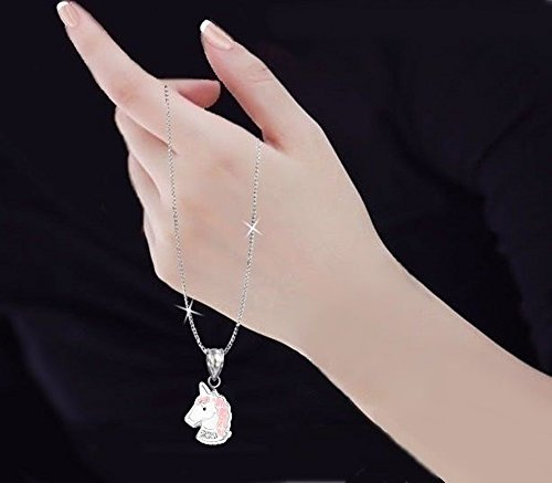 GH1 A White Crystal 925 Silver Unicorn Earrings + Pendant + Necklace + Ring Set